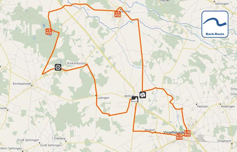 Routenplan Bach Route©Touristikverband Landkreis Rotenburg (Wümme) e.V.